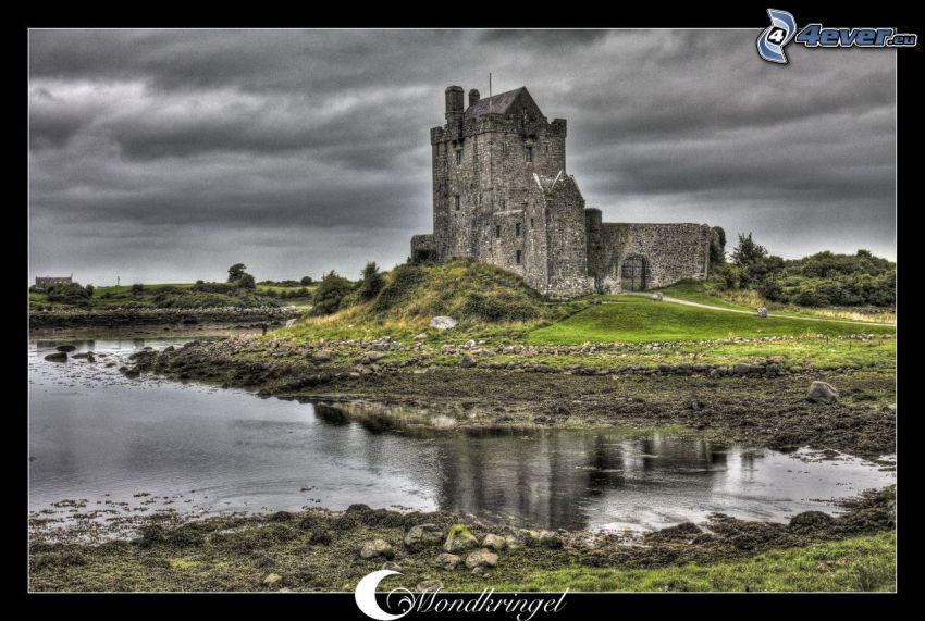 Dunguaire Castle, slott, Irland, sjö, HDR