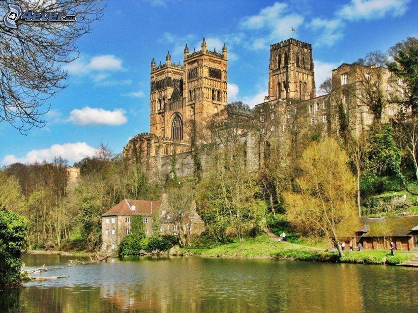 Durham katedralen, flod, träd