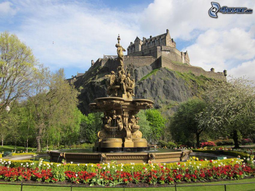 Edinburgh Castle, trädgård, fontän