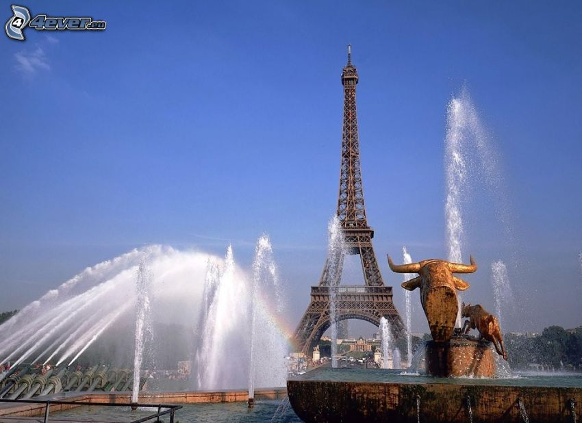 Eiffeltornet, Paris, Frankrike, fontän