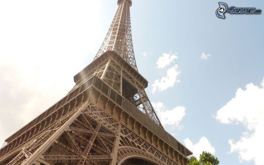 Eiffeltornet, Paris, Frankrike, himmel, moln