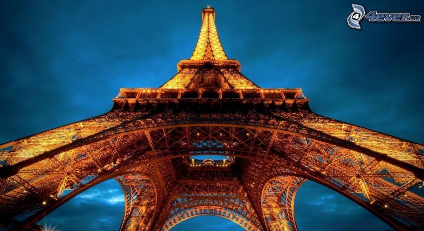 Eiffeltornet, Paris, Frankrike, kväll, belysning