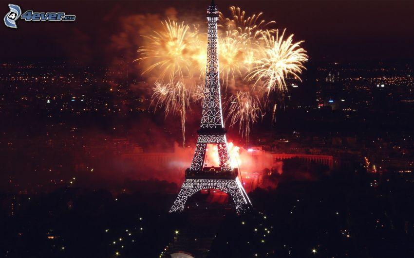 Eiffeltornet, Paris, Frankrike, natt, fyrverkerier