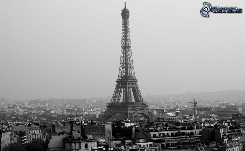 Eiffeltornet, Paris, Frankrike, svart och vitt