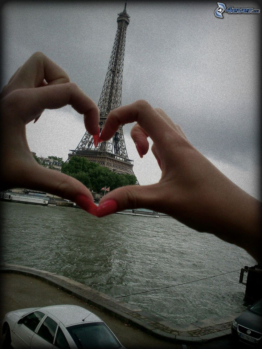 Eiffeltornet, Seine, Paris, Frankrike, hjärta av händer