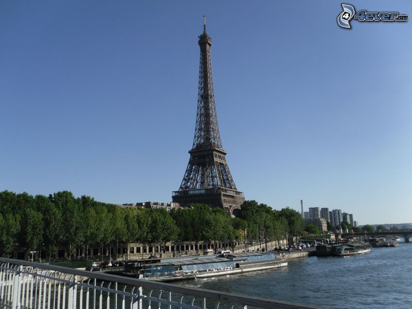 Eiffeltornet, Seine, träd, Paris, Frankrike