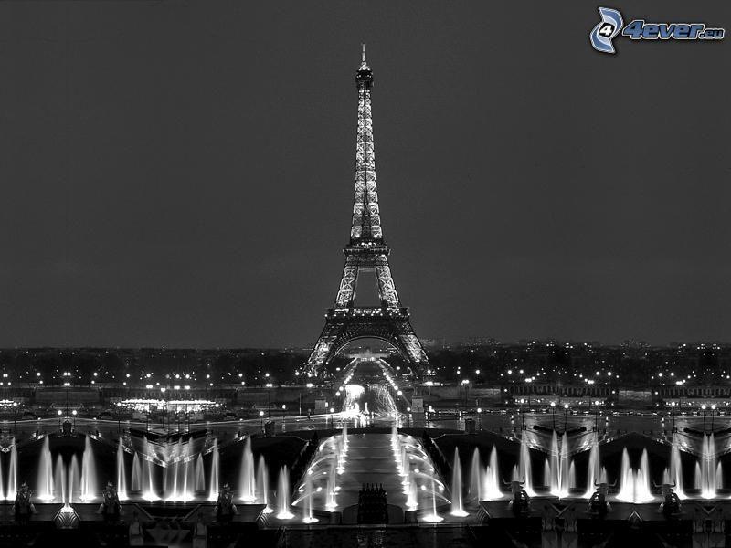 Eiffeltornet på natten, fontäner, belysning