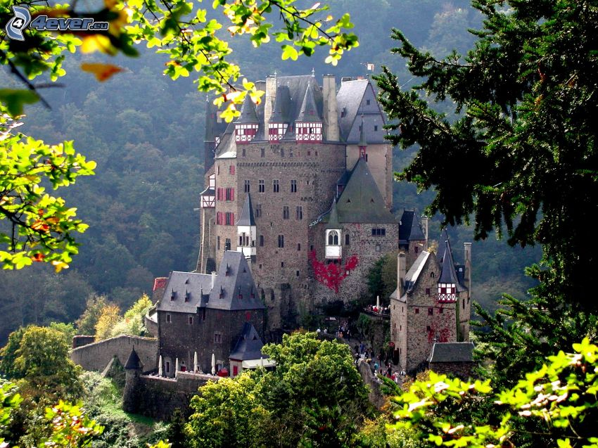 Eltz Castle, gröna blad