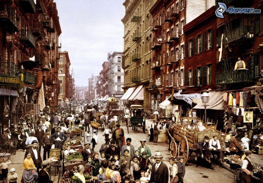 gata, marknad, människor
