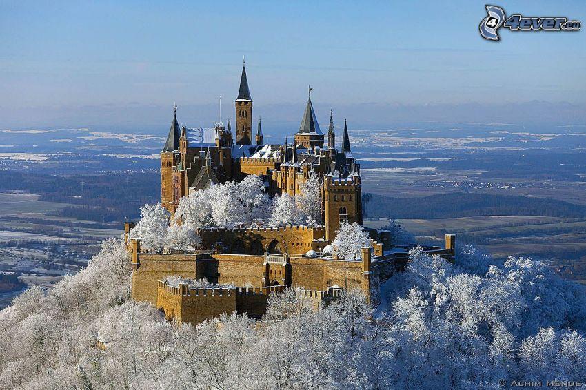 Hohenzollern, slott, Tyskland, utsikt över landskap