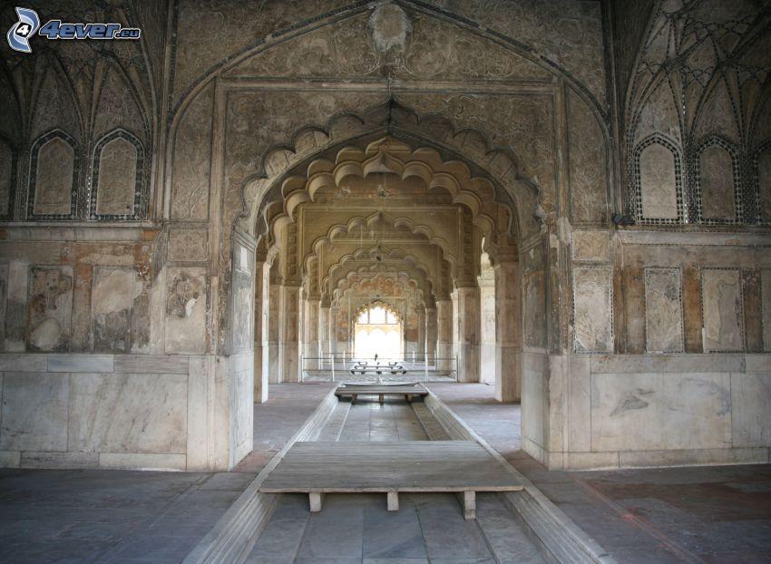 interiör av Taj Mahal, korridor