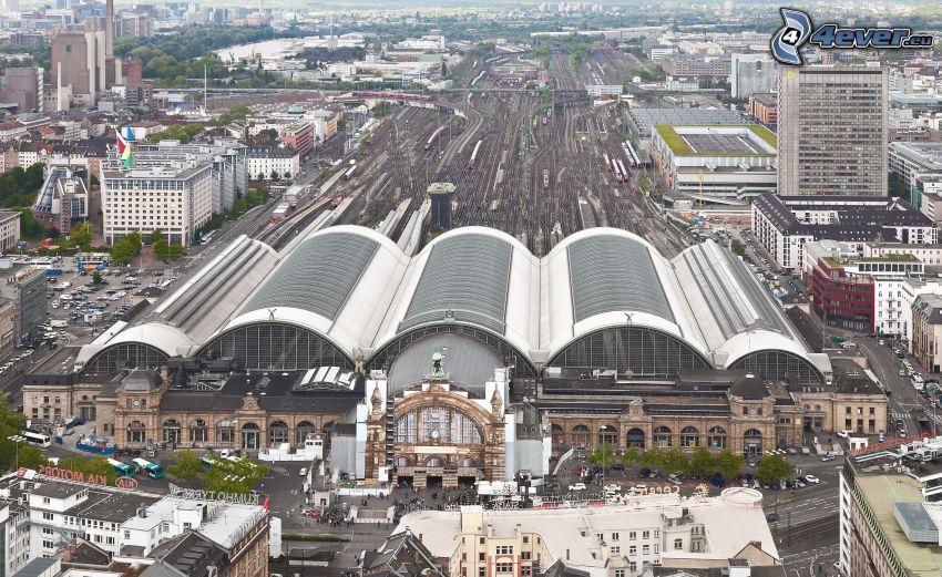 järnvägsstation, Frankfurt, stadsutsikt