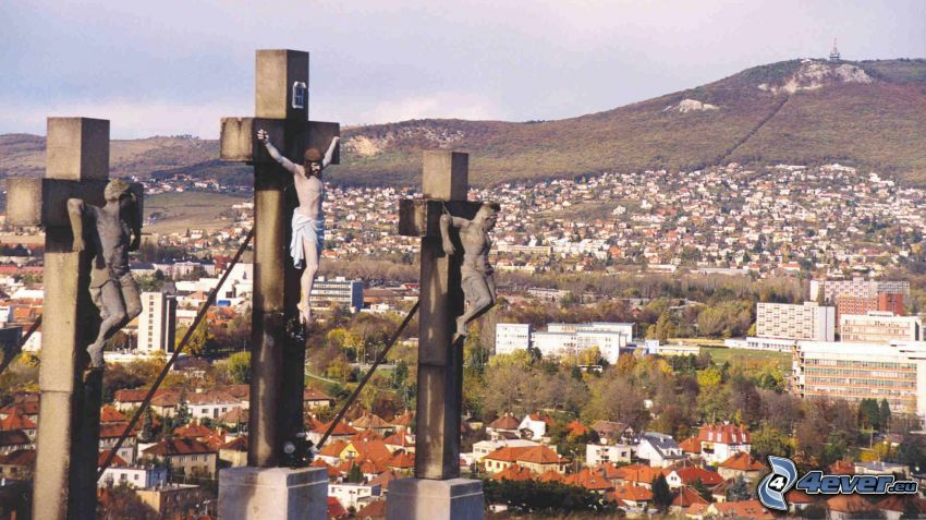 jesus, kors, Nitra, stadsutsikt
