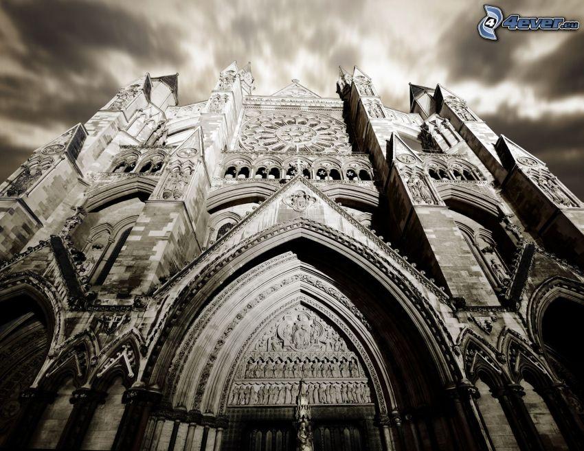 katedral, svart och vitt