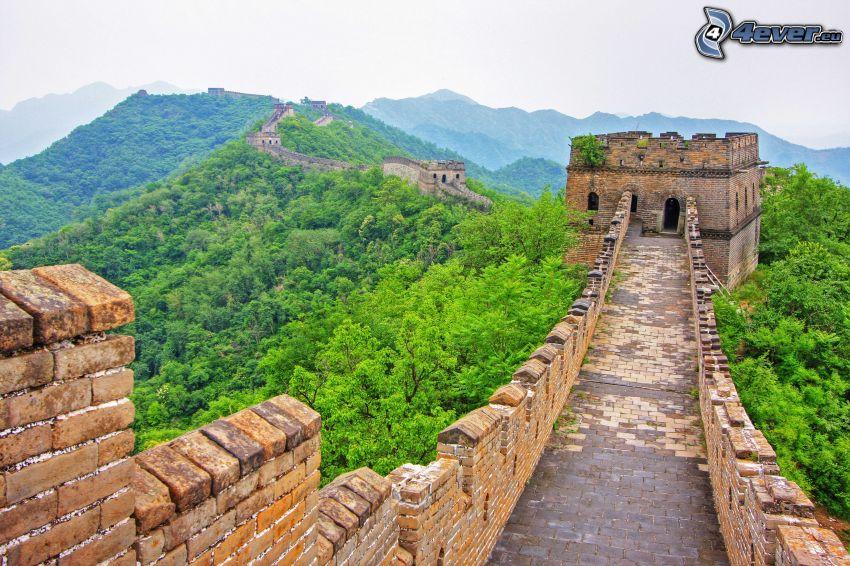 Kinesiska muren, grön skog, berg