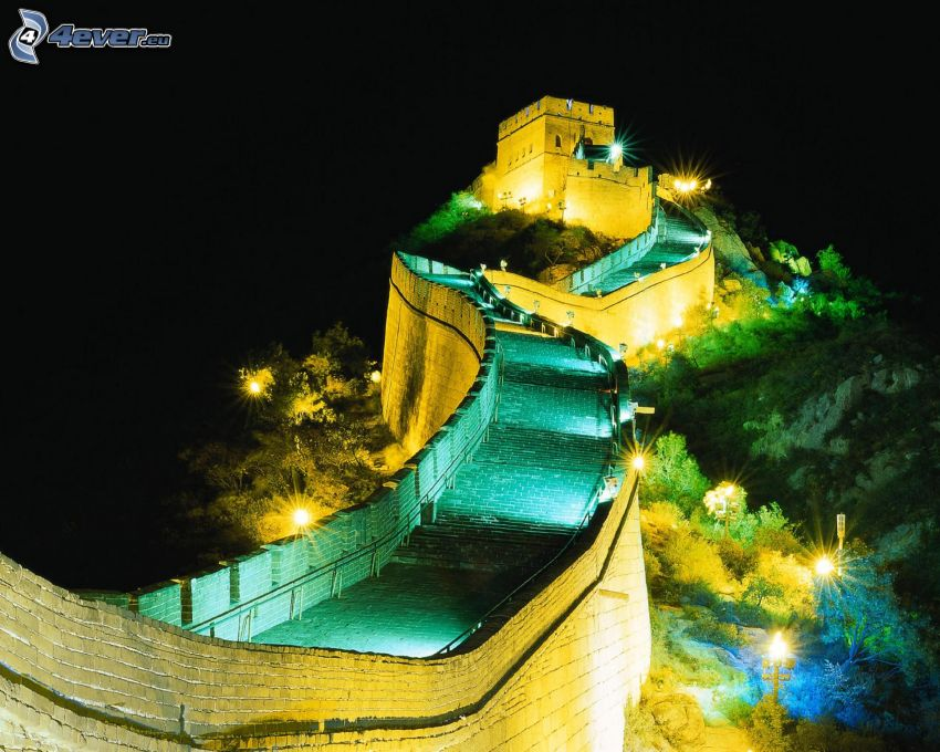Kinesiska muren, natt, belysning