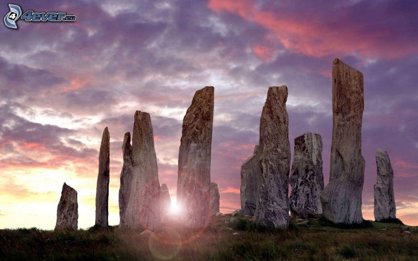 klippor, solnedgång, kvällshimmel