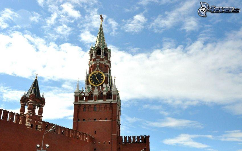 Kremlin, klocka, Moskva, Ryssland