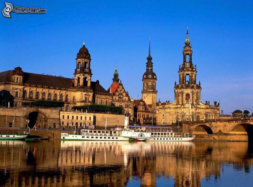 kyrka, flod, båt, Tyskland