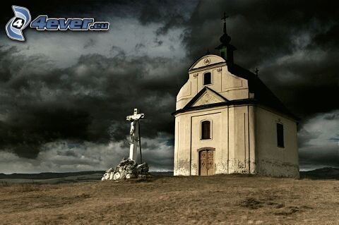 kyrka, kors, moln