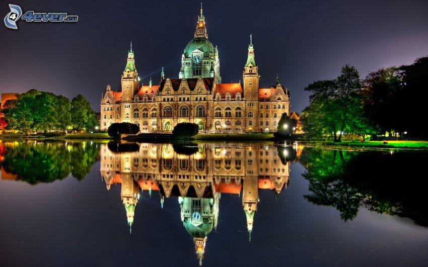 kyrka, Tyskland, kväll, vatten, spegling, HDR