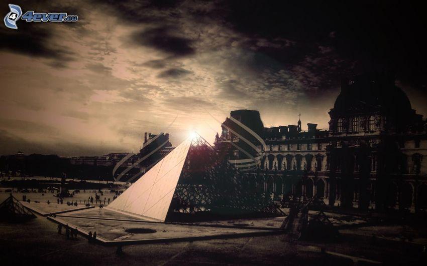 Louvre, Paris, pyramid, gammalt foto