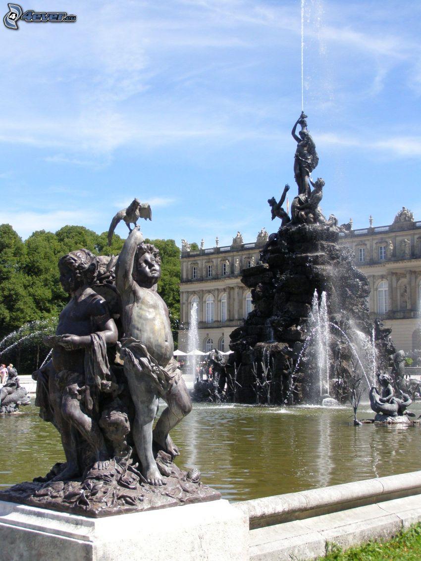 Ludwig II av Bayerns slott, fontän, Herrenchiemsee, Bayern