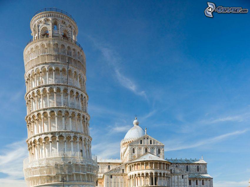 Lutande tornet i Pisa, Italien, himmel