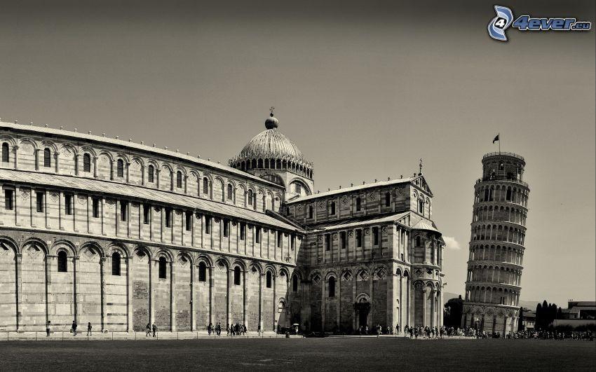 Lutande tornet i Pisa, Italien, svart och vitt