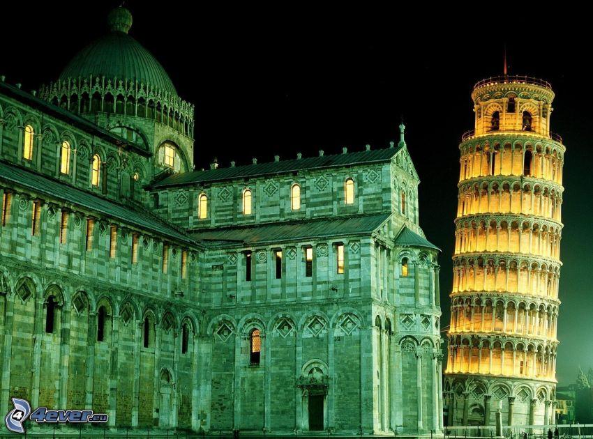 Lutande tornet i Pisa, katedral, Italien, natt, belysning