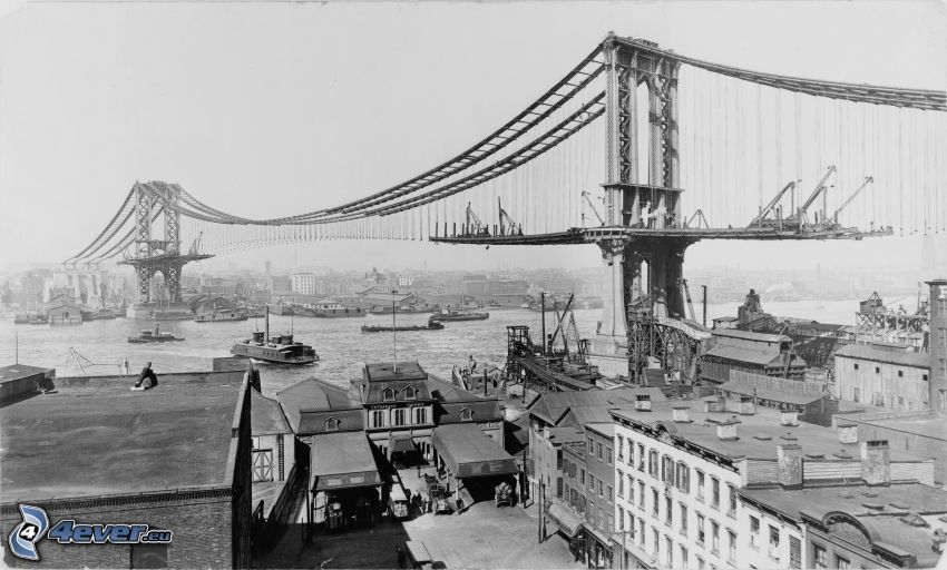 Manhattan Bridge, konstruktion, gammalt foto