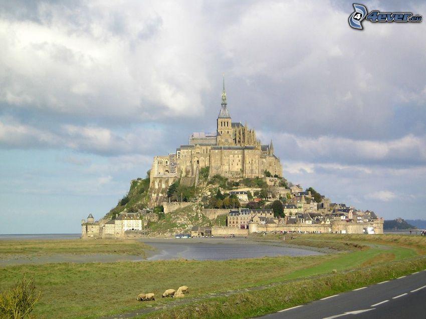 Mont Saint-Michel, Frankrike, kloster, hav