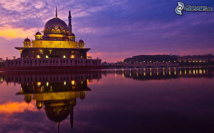 moské, kväll, vatten, spegling, belysning