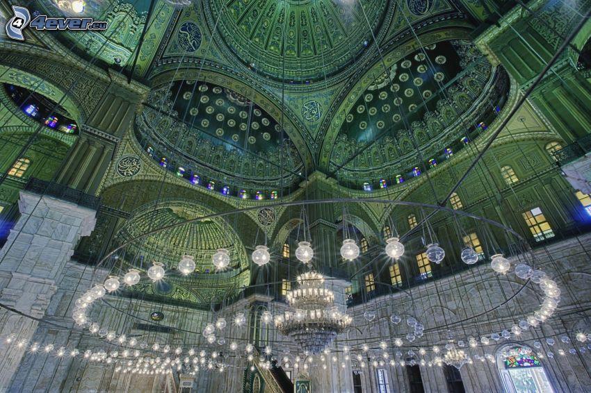 muhammed Ali-moskén, interiör, ljus, Kairo, Egypten