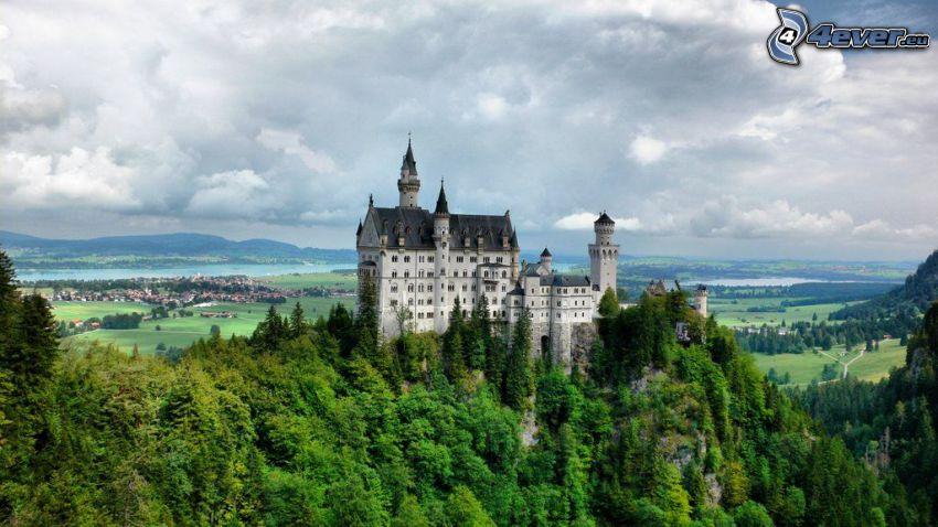 Neuschwanstein slott, Tyskland, berg, skog
