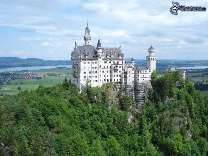 Neuschwanstein slott, Tyskland, skog, utsikt över landskap