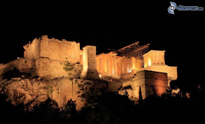 palats, Aten, Grekland, natt, belysning