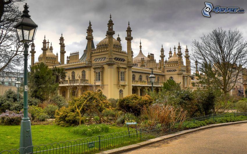 palats, trädgård, gatlykta
