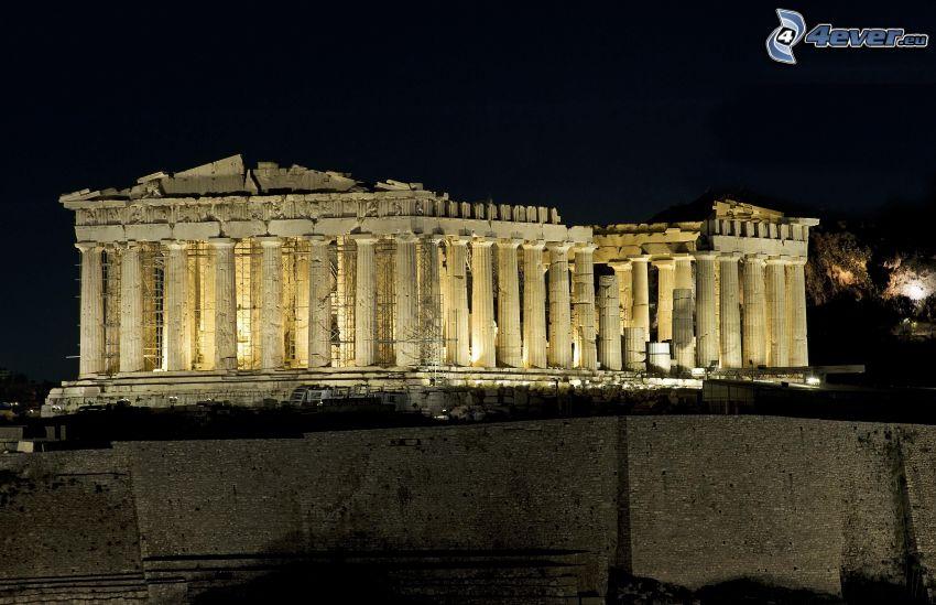 Parthenon, Aten, natt