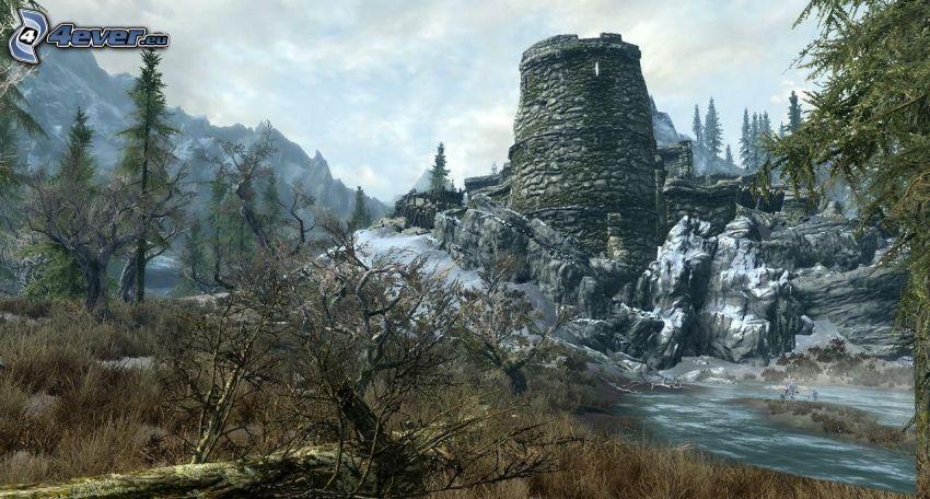ruin, bäck, snö, klippa