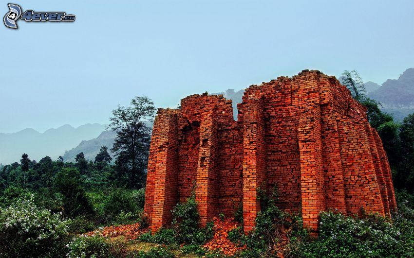 ruin, tegelstenar