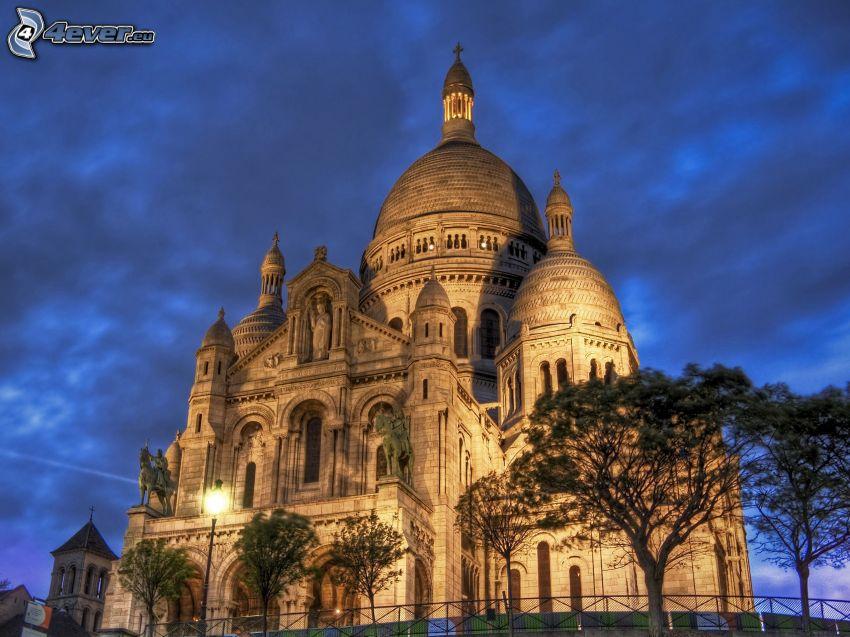 Sacré-Cœur, Paris, katedral, Frankrike, belysning, HDR