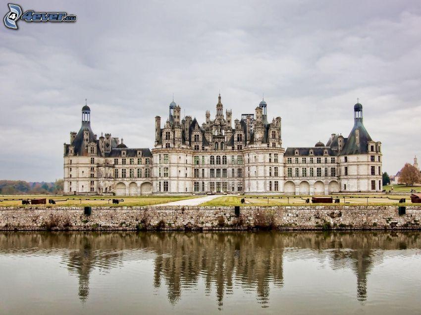 slott, historisk byggnad, flod
