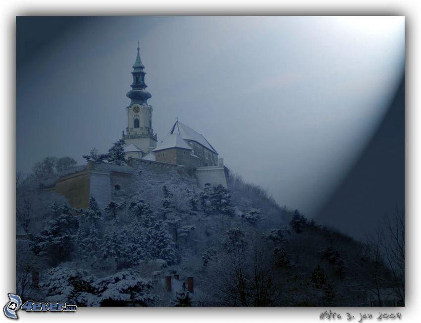 slott, Nitra, snö, himmel