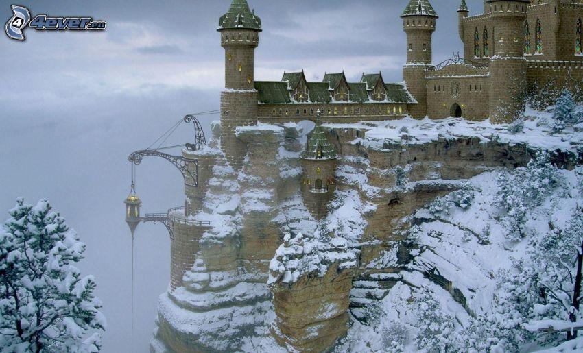 slott, snötäckt backe, snöigt träd