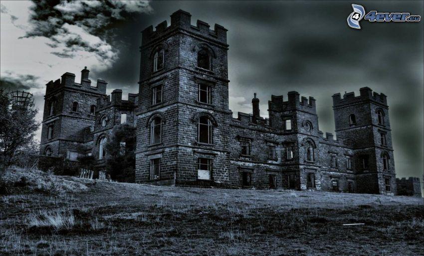 slott, svartvitt foto