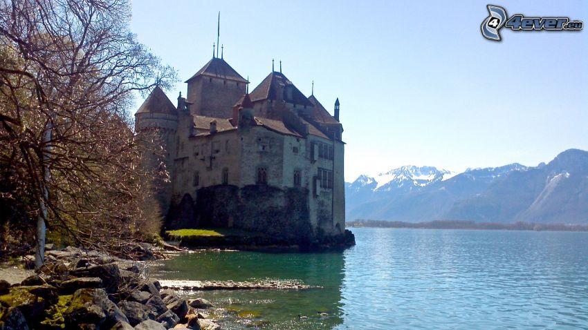 slottet Chillon, flod, bergskedja