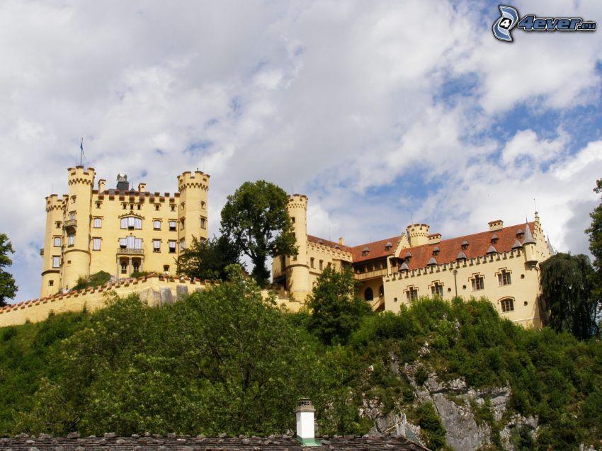 Slottet Hohenschwangau, Bayern, himmel