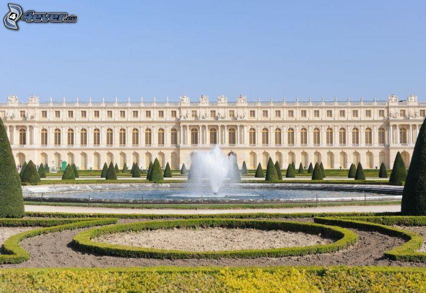 Slottet i Versailles, fontän, trädgård, buskar