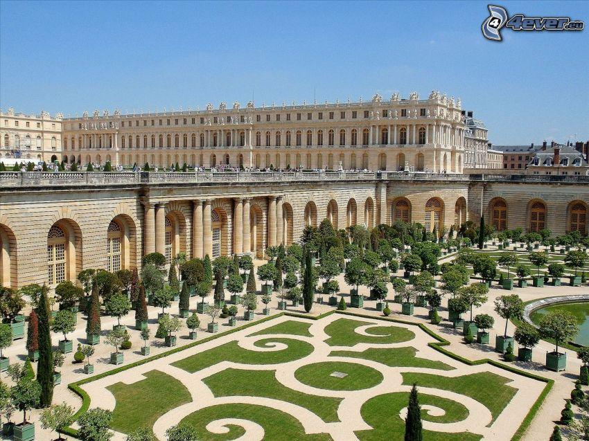 Slottet i Versailles, trädgård, träd, trottoar